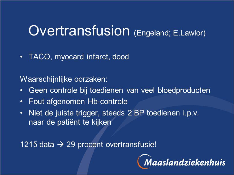 Overtransfusion (Engeland; E.Lawlor) TACO, myocard infarct, dood Waarschijnlijke oorzaken: Geen controle bij toedienen van veel bloedproducten Fout af