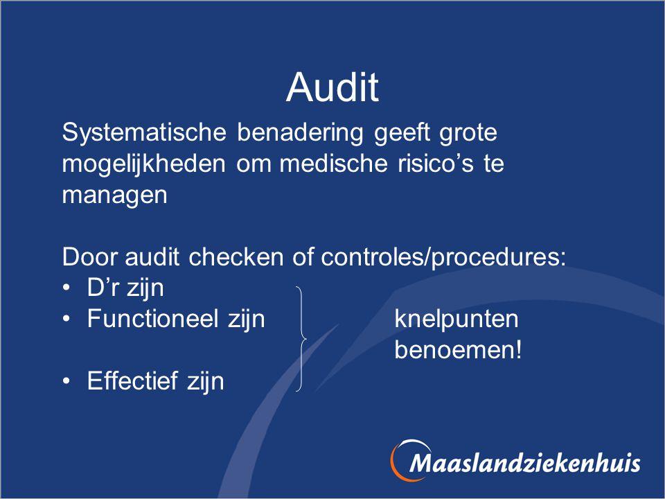 Audit Systematische benadering geeft grote mogelijkheden om medische risico's te managen Door audit checken of controles/procedures: D'r zijn Function