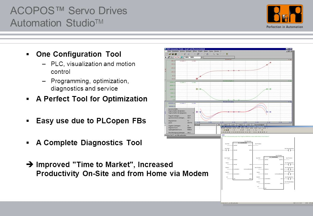 ACOPOS™ Servo Drives Automation Studio TM  One Configuration Tool –PLC, visualization and motion control –Programming, optimization, diagnostics and