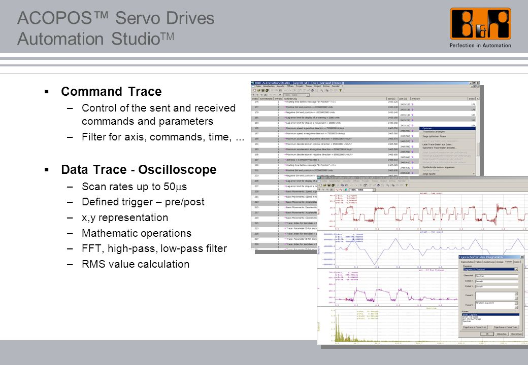 ACOPOS™ Servo Drives Automation Studio TM  Command Trace –Control of the sent and received commands and parameters –Filter for axis, commands, time,.