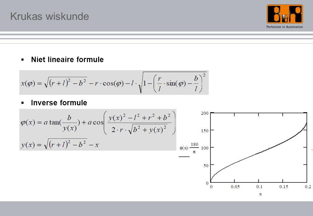 Krukas wiskunde  Niet lineaire formule  Inverse formule