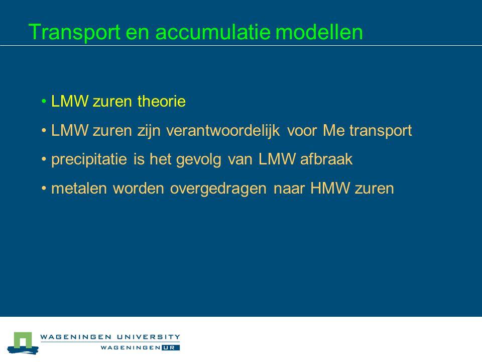 Transport en accumulatie modellen LMW zuren theorie LMW zuren zijn verantwoordelijk voor Me transport precipitatie is het gevolg van LMW afbraak metal
