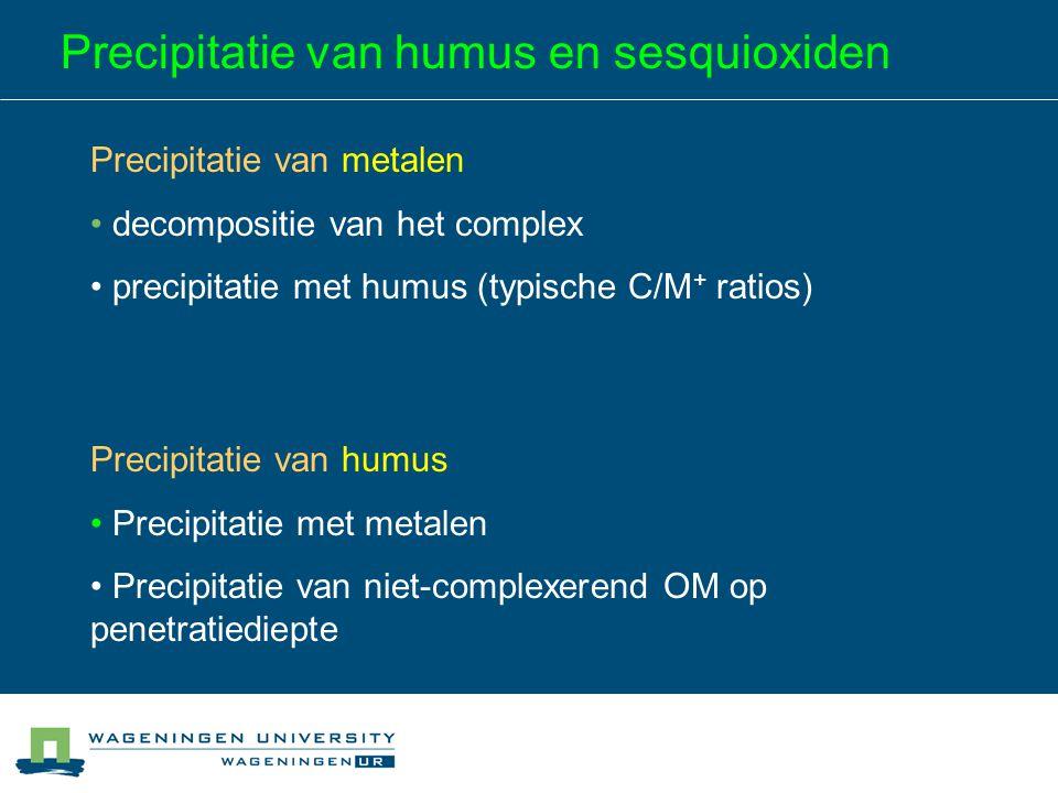 Precipitatie van humus en sesquioxiden Precipitatie van metalen decompositie van het complex precipitatie met humus (typische C/M + ratios) Precipitat