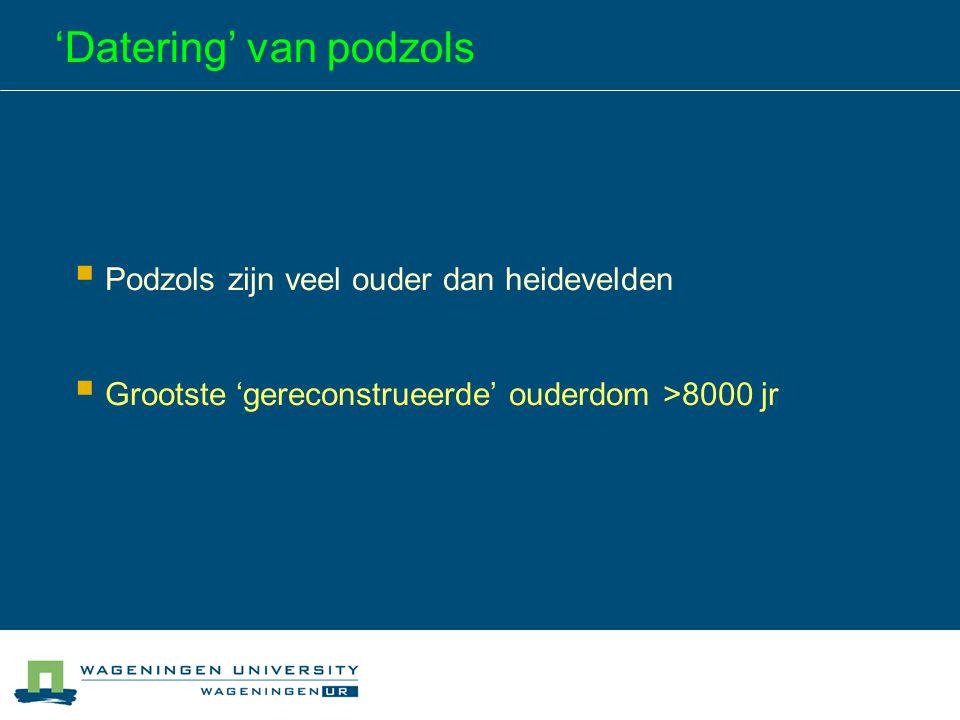 'Datering' van podzols  Podzols zijn veel ouder dan heidevelden  Grootste 'gereconstrueerde' ouderdom >8000 jr