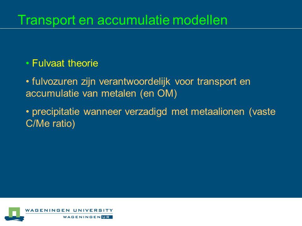 Transport en accumulatie modellen Fulvaat theorie fulvozuren zijn verantwoordelijk voor transport en accumulatie van metalen (en OM) precipitatie wann