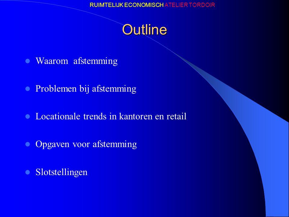Outline Waarom afstemming Problemen bij afstemming Locationale trends in kantoren en retail Opgaven voor afstemming Slotstellingen RUIMTELIJK ECONOMIS
