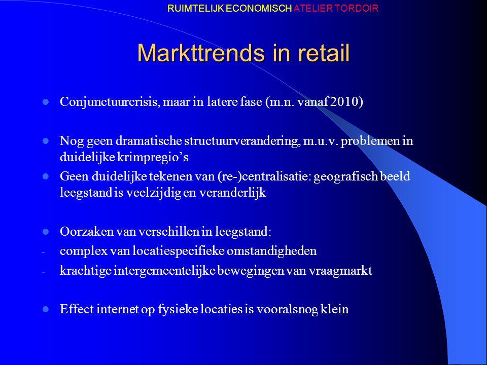 Markttrends in retail Conjunctuurcrisis, maar in latere fase (m.n. vanaf 2010) Nog geen dramatische structuurverandering, m.u.v. problemen in duidelij