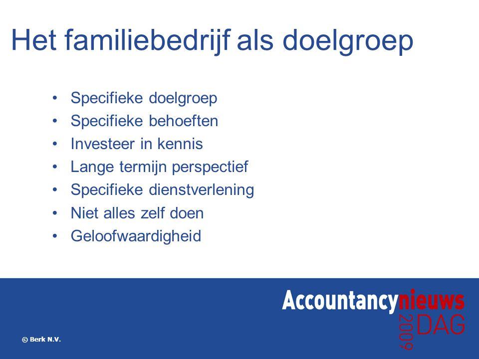 © Berk N.V. Het familiebedrijf als doelgroep Specifieke doelgroep Specifieke behoeften Investeer in kennis Lange termijn perspectief Specifieke dienst