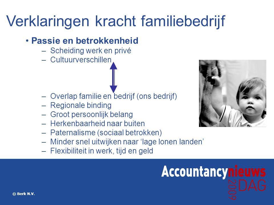 © Berk N.V. Passie en betrokkenheid –Scheiding werk en privé –Cultuurverschillen –Overlap familie en bedrijf (ons bedrijf) –Regionale binding –Groot p