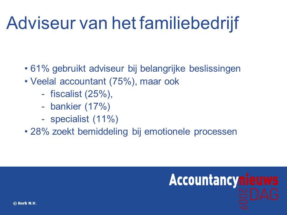 © Berk N.V. Adviseur van het familiebedrijf 61% gebruikt adviseur bij belangrijke beslissingen Veelal accountant (75%), maar ook  fiscalist (25%), 