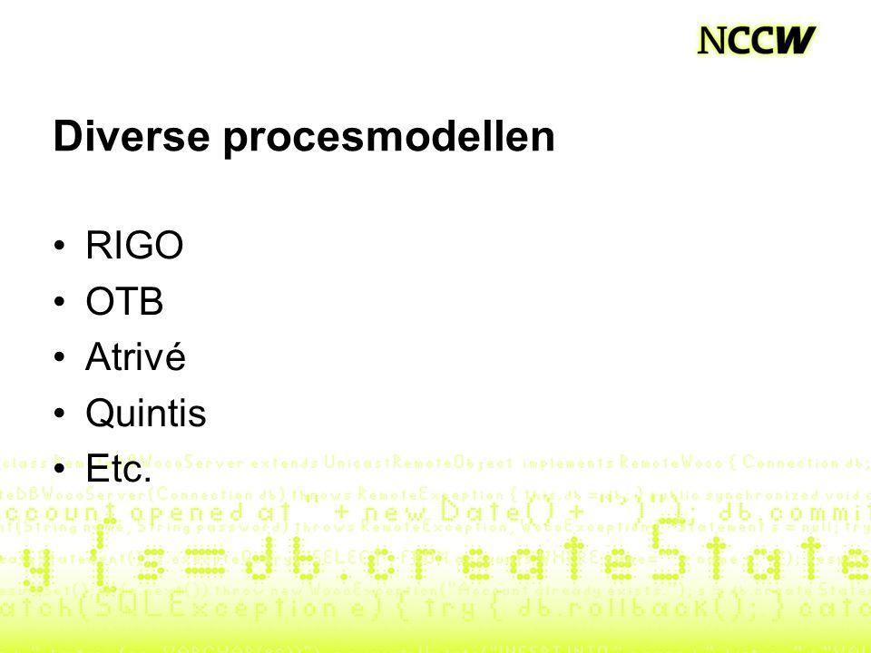 Diverse procesmodellen RIGO OTB Atrivé Quintis Etc.