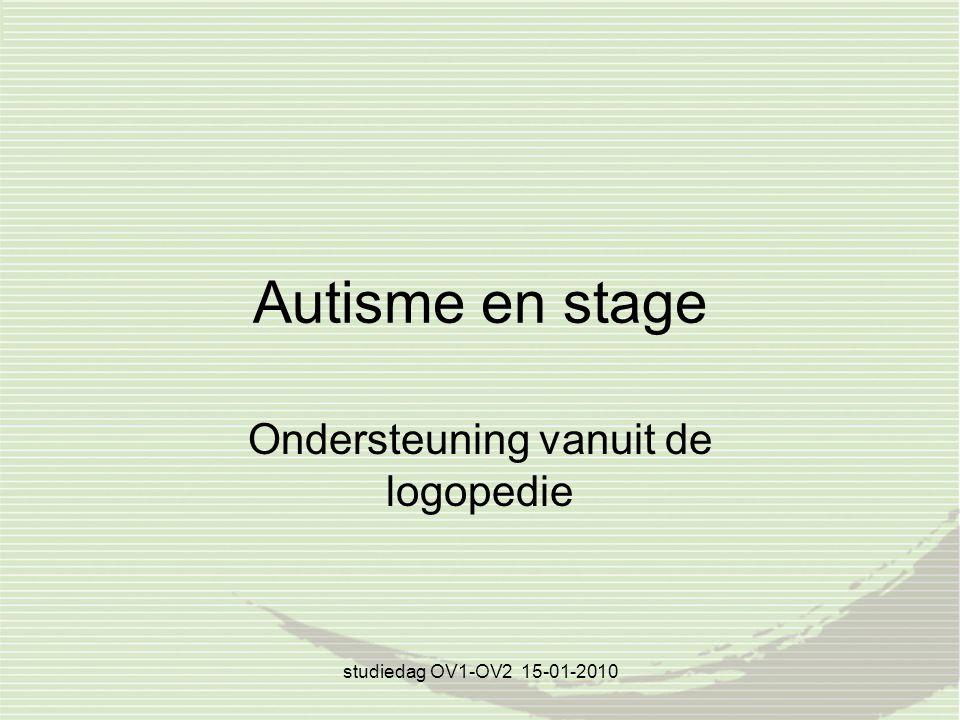 studiedag OV1-OV2 15-01-2010 Autisme en stage Ondersteuning vanuit de logopedie
