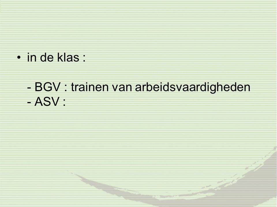 in de klas : - BGV : trainen van arbeidsvaardigheden - ASV :