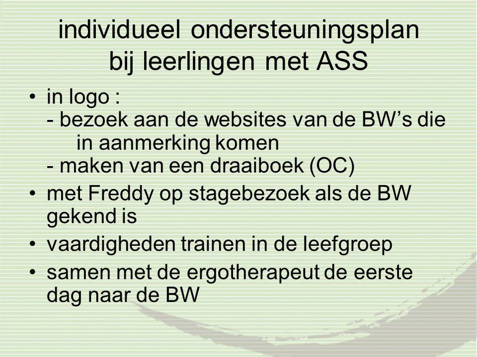individueel ondersteuningsplan bij leerlingen met ASS in logo : - bezoek aan de websites van de BW's die in aanmerking komen - maken van een draaiboek