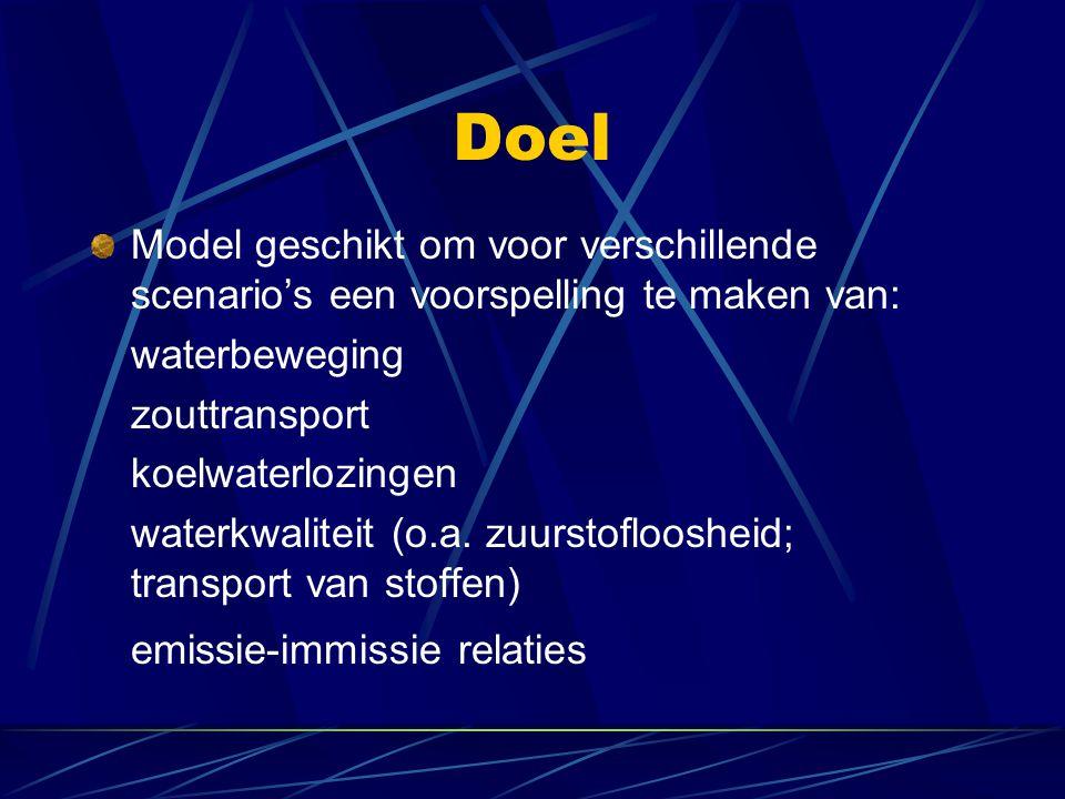 Doel Model geschikt om voor verschillende scenario's een voorspelling te maken van: waterbeweging zouttransport koelwaterlozingen waterkwaliteit (o.a.