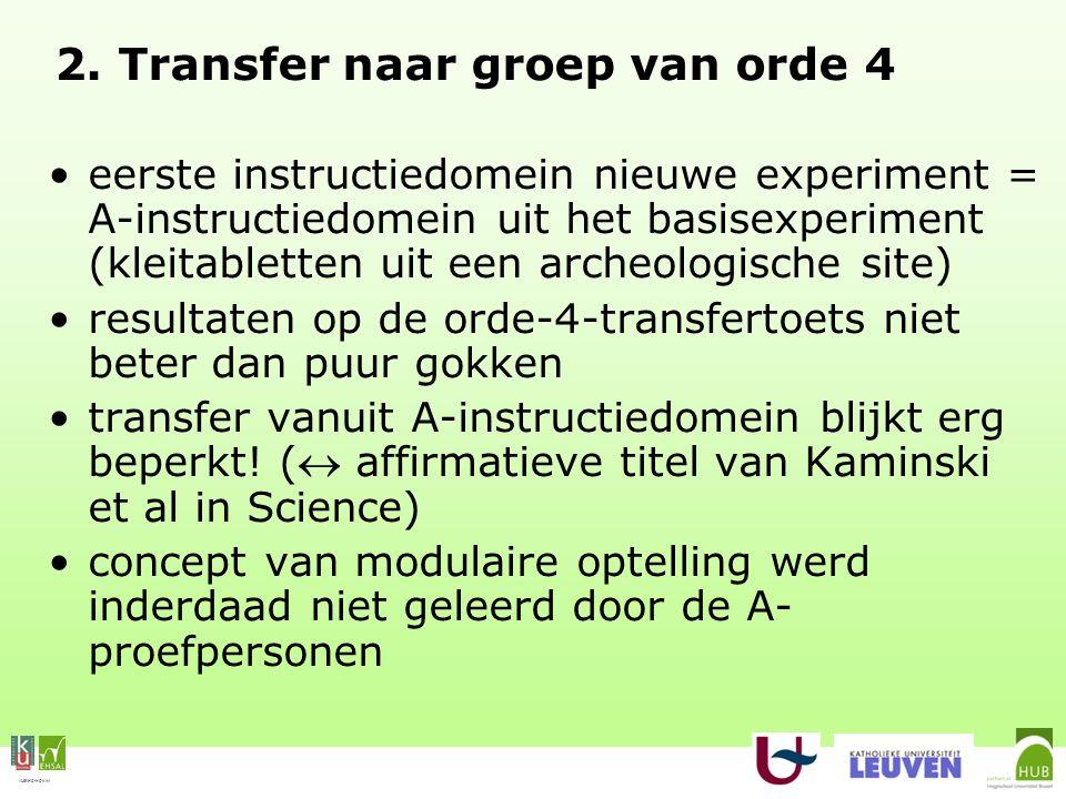 VLEKHO-HONIM 2. Transfer naar groep van orde 4 eerste instructiedomein nieuwe experiment = A-instructiedomein uit het basisexperiment (kleitabletten u