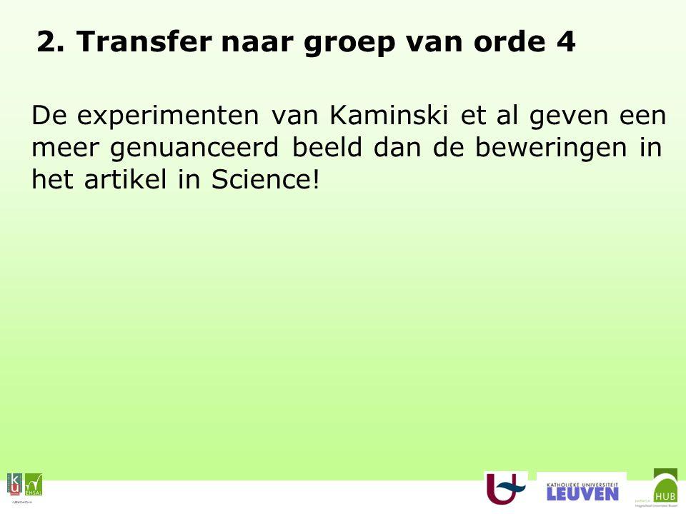 VLEKHO-HONIM 2. Transfer naar groep van orde 4 De experimenten van Kaminski et al geven een meer genuanceerd beeld dan de beweringen in het artikel in