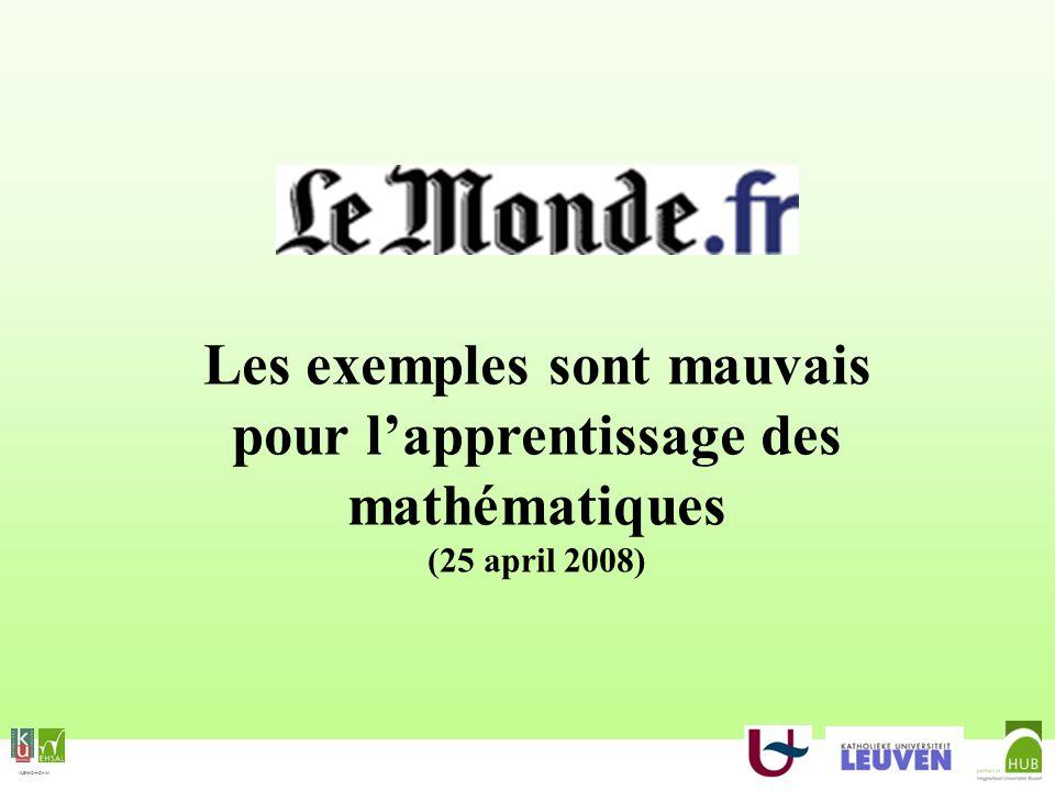 Les exemples sont mauvais pour l'apprentissage des mathématiques (25 april 2008)