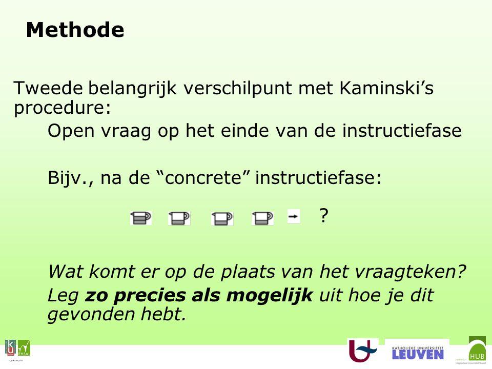 VLEKHO-HONIM Methode Tweede belangrijk verschilpunt met Kaminski's procedure: Open vraag op het einde van de instructiefase Bijv., na de concrete instructiefase: Wat komt er op de plaats van het vraagteken.