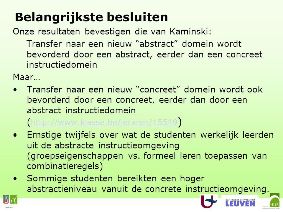 VLEKHO-HONIM Belangrijkste besluiten Onze resultaten bevestigen die van Kaminski: Transfer naar een nieuw abstract domein wordt bevorderd door een abstract, eerder dan een concreet instructiedomein Maar… Transfer naar een nieuw concreet domein wordt ook bevorderd door een concreet, eerder dan door een abstract instructiedomein ( http://www.klasse.be/leraren/15549 ) http://www.klasse.be/leraren/15549 Ernstige twijfels over wat de studenten werkelijk leerden uit de abstracte instructieomgeving (groepseigenschappen vs.