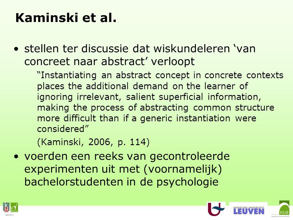 """VLEKHO-HONIM Kaminski et al. stellen ter discussie dat wiskundeleren 'van concreet naar abstract' verloopt """"Instantiating an abstract concept in concr"""