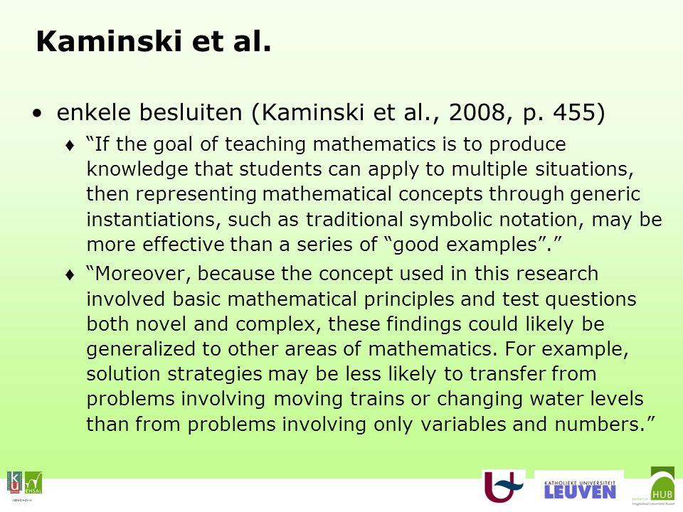 "VLEKHO-HONIM Kaminski et al. enkele besluiten (Kaminski et al., 2008, p. 455) ♦ ""If the goal of teaching mathematics is to produce knowledge that stud"