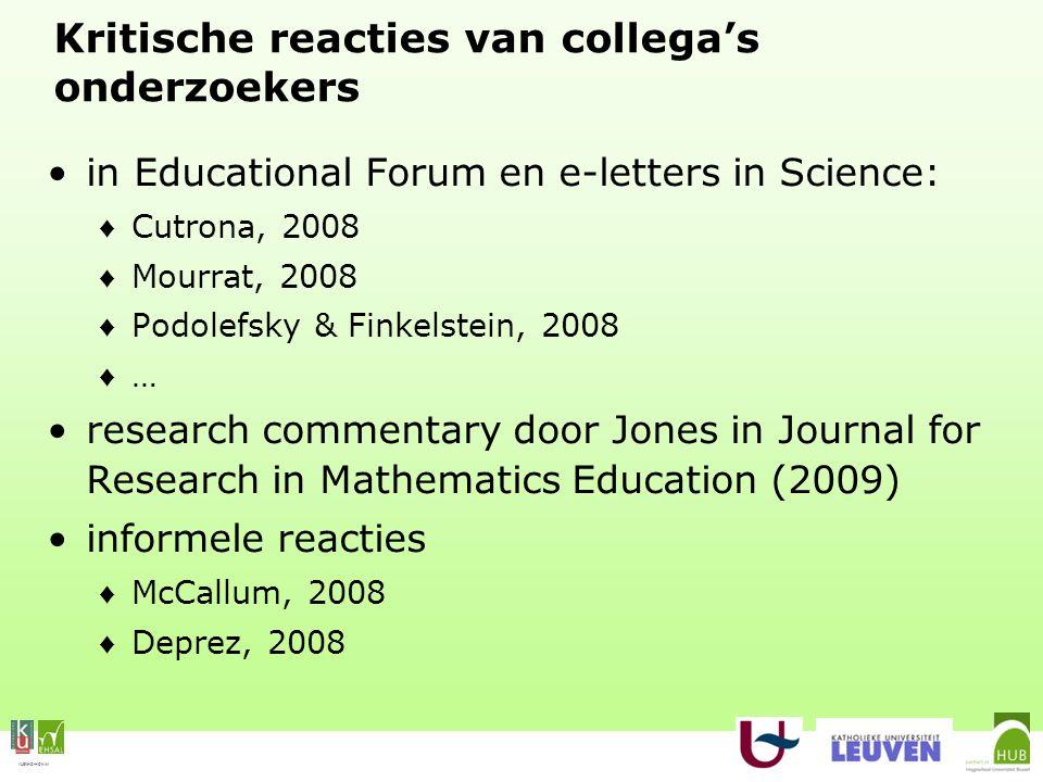 VLEKHO-HONIM Kritische reacties van collega's onderzoekers in Educational Forum en e-letters in Science: ♦ Cutrona, 2008 ♦ Mourrat, 2008 ♦ Podolefsky