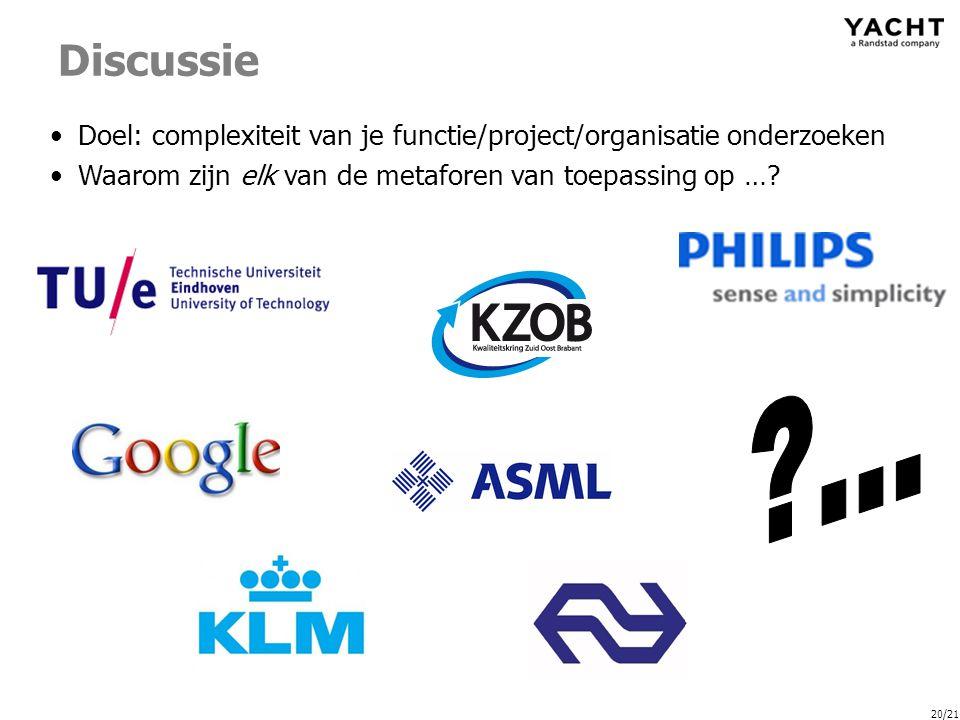 20/21 Discussie Doel: complexiteit van je functie/project/organisatie onderzoeken Waarom zijn elk van de metaforen van toepassing op …?
