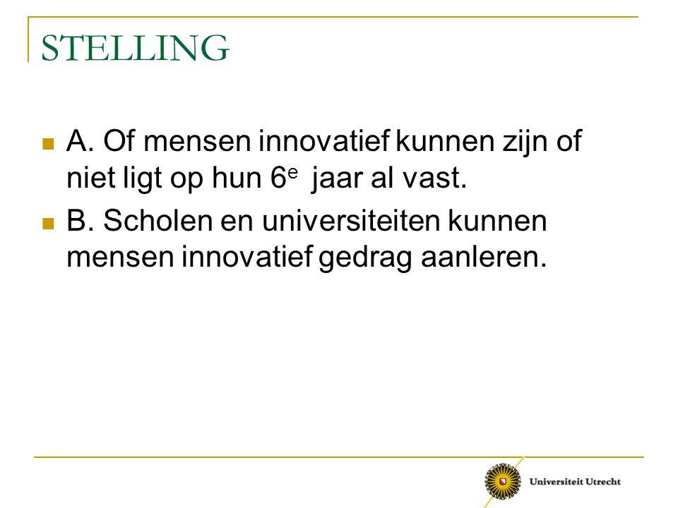 STELLING A.Of mensen innovatief kunnen zijn of niet ligt op hun 6 e jaar al vast.