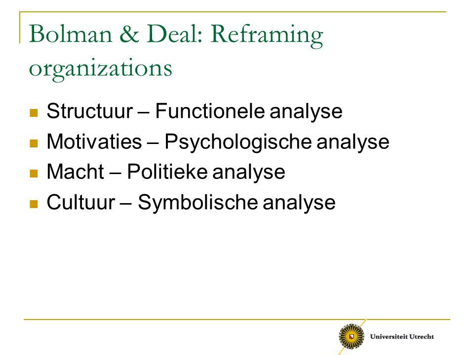 Bolman & Deal: Reframing organizations Structuur – Functionele analyse Motivaties – Psychologische analyse Macht – Politieke analyse Cultuur – Symboli