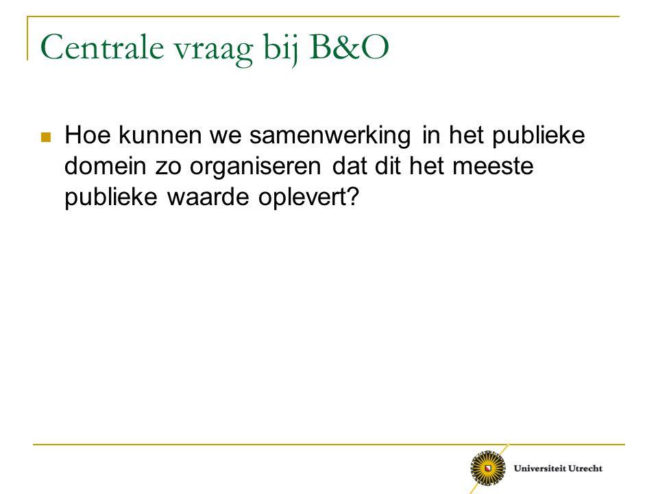Centrale vraag bij B&O Hoe kunnen we samenwerking in het publieke domein zo organiseren dat dit het meeste publieke waarde oplevert?
