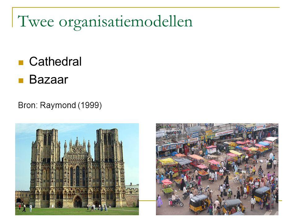 Twee organisatiemodellen Cathedral Bazaar Bron: Raymond (1999)
