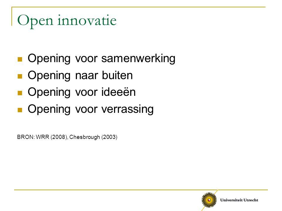 Open innovatie Opening voor samenwerking Opening naar buiten Opening voor ideeën Opening voor verrassing BRON: WRR (2008), Chesbrough (2003)