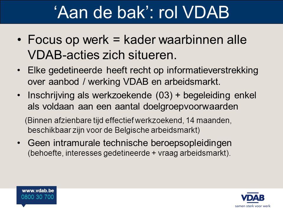 www.vdab.be 0800 30 700 'Aan de bak': rol VDAB Focus op werk = kader waarbinnen alle VDAB-acties zich situeren. Elke gedetineerde heeft recht op infor