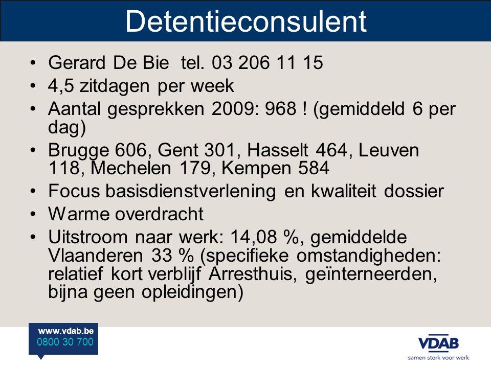 www.vdab.be 0800 30 700 Detentieconsulent Gerard De Bie tel. 03 206 11 15 4,5 zitdagen per week Aantal gesprekken 2009: 968 ! (gemiddeld 6 per dag) Br
