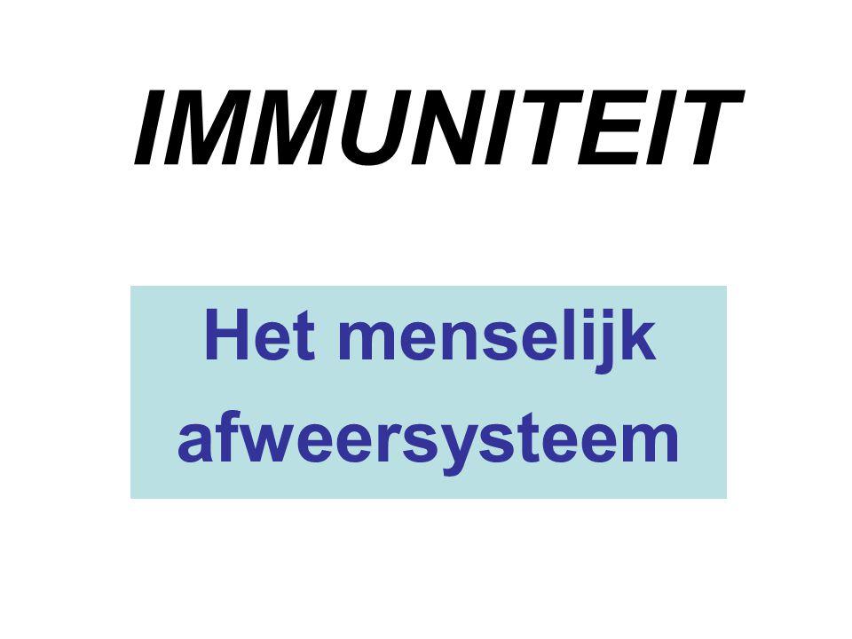 Immunologie  Studie van het afweer- of immuunsysteem: ons verdedigingsleger tegen vreemde indringers bacteriën schimmels parasieten virussen lichaamvreemde stoffen (proteïnen)