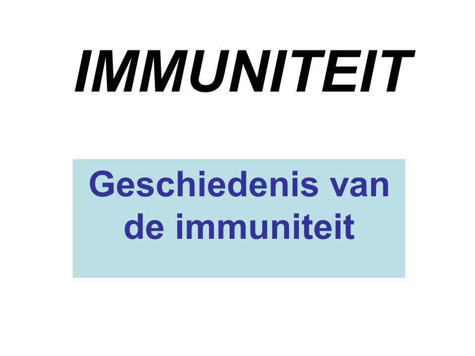 IMMUNITEIT Geschiedenis van de immuniteit