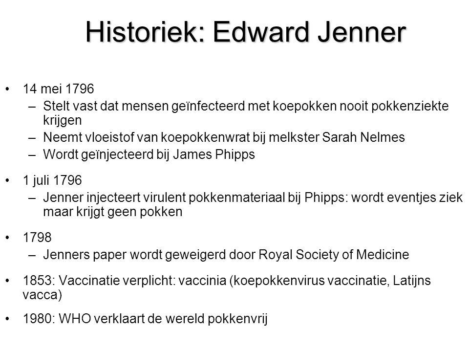 Historiek: Edward Jenner 14 mei 1796 –Stelt vast dat mensen geïnfecteerd met koepokken nooit pokkenziekte krijgen –Neemt vloeistof van koepokkenwrat b