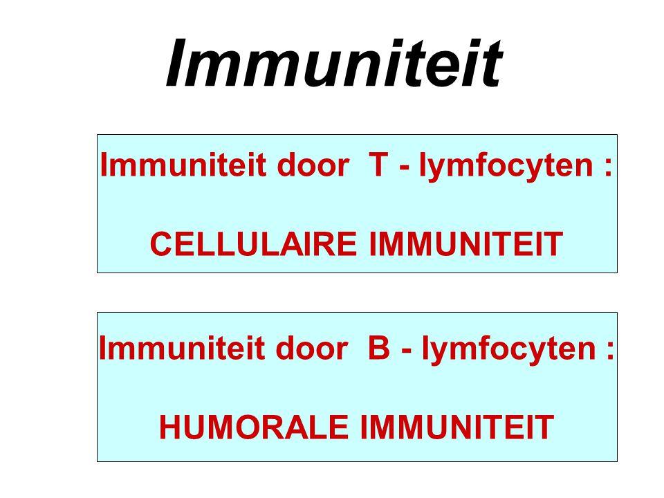 Immuniteit Immuniteit door T - lymfocyten : CELLULAIRE IMMUNITEIT Immuniteit door B - lymfocyten : HUMORALE IMMUNITEIT