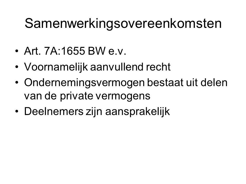 Samenwerkingsovereenkomsten Art. 7A:1655 BW e.v. Voornamelijk aanvullend recht Ondernemingsvermogen bestaat uit delen van de private vermogens Deelnem