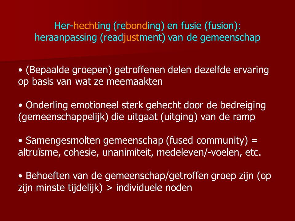 Her-hechting (rebonding) en fusie (fusion): heraanpassing (readjustment) van de gemeenschap (Bepaalde groepen) getroffenen delen dezelfde ervaring op