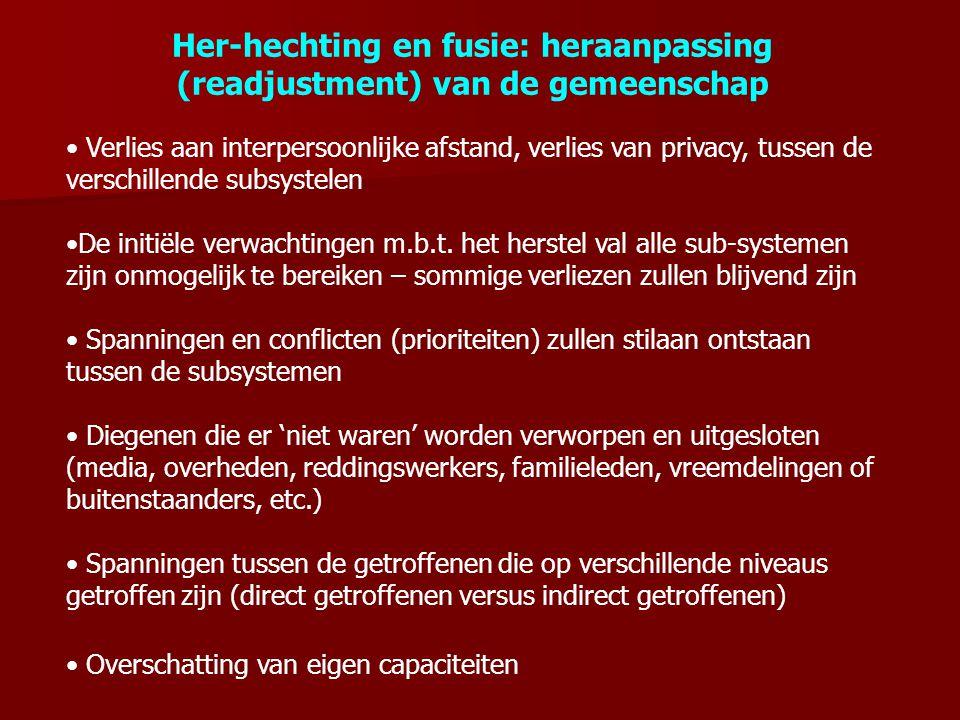 Her-hechting en fusie: heraanpassing (readjustment) van de gemeenschap Verlies aan interpersoonlijke afstand, verlies van privacy, tussen de verschill