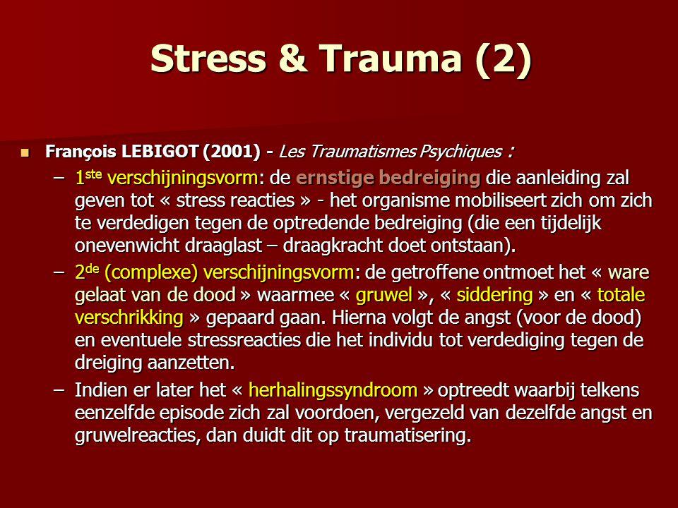 Stress & Trauma (2) François LEBIGOT (2001) - Les Traumatismes Psychiques : François LEBIGOT (2001) - Les Traumatismes Psychiques : –1 ste verschijnin