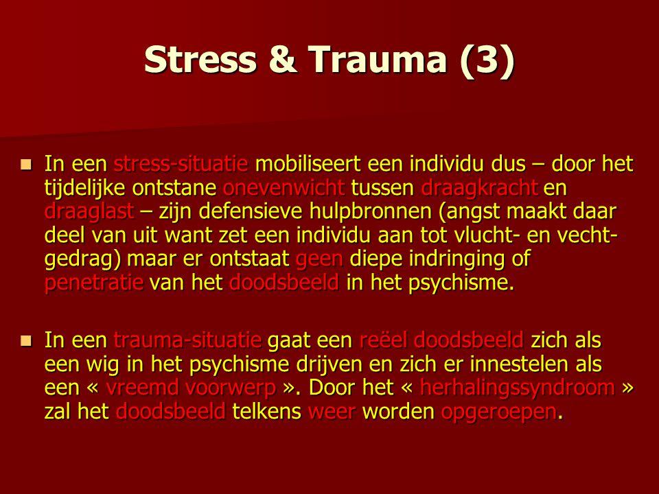 Stress & Trauma (3) In een stress-situatie mobiliseert een individu dus – door het tijdelijke ontstane onevenwicht tussen draagkracht en draaglast – z