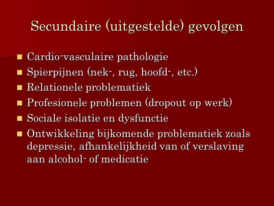 Secundaire (uitgestelde) gevolgen Cardio-vasculaire pathologie Cardio-vasculaire pathologie Spierpijnen (nek-, rug, hoofd-, etc.) Spierpijnen (nek-, r