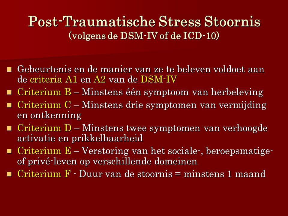 Post-Traumatische Stress Stoornis (volgens de DSM-IV of de ICD-10) Gebeurtenis en de manier van ze te beleven voldoet aan de criteria A1 en A2 van de