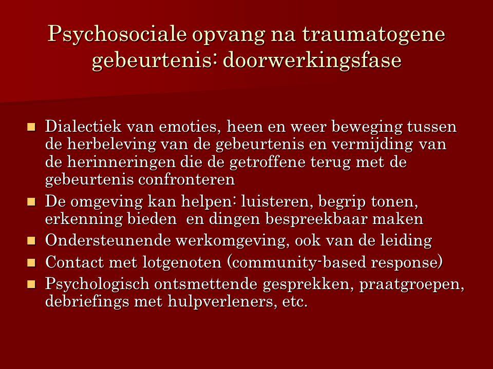 Psychosociale opvang na traumatogene gebeurtenis: doorwerkingsfase Dialectiek van emoties, heen en weer beweging tussen de herbeleving van de gebeurte