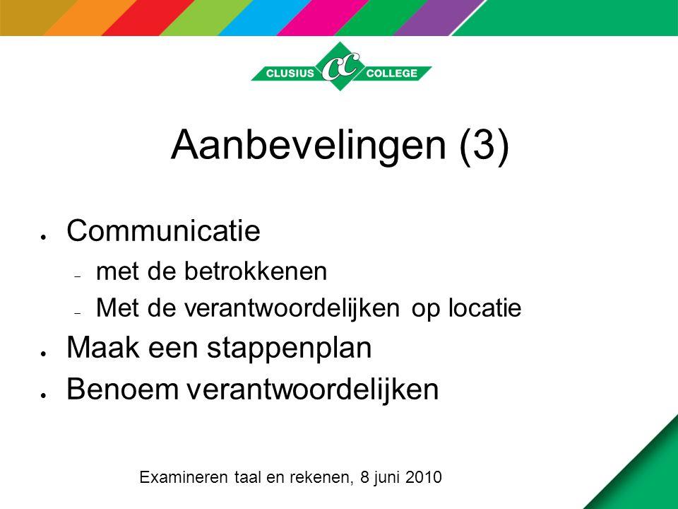 Aanbevelingen (3)  Communicatie  met de betrokkenen  Met de verantwoordelijken op locatie  Maak een stappenplan  Benoem verantwoordelijken Examin
