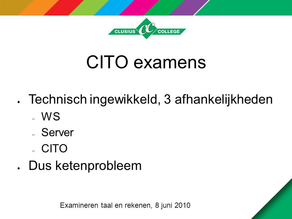 CITO examens  Technisch ingewikkeld, 3 afhankelijkheden  WS  Server  CITO  Dus ketenprobleem Examineren taal en rekenen, 8 juni 2010