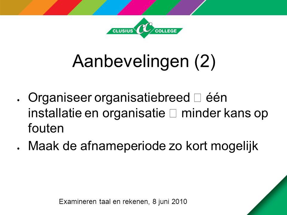 Aanbevelingen (3)  Communicatie  met de betrokkenen  Met de verantwoordelijken op locatie  Maak een stappenplan  Benoem verantwoordelijken Examineren taal en rekenen, 8 juni 2010